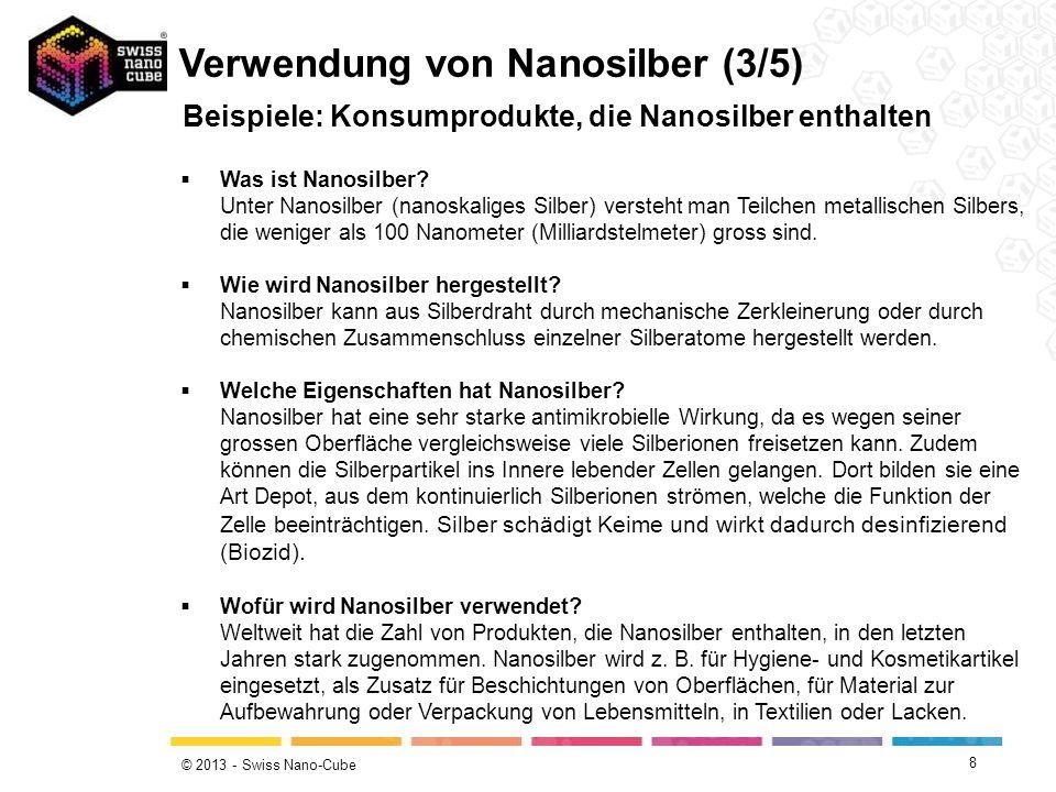© 2013 - Swiss Nano-Cube 8 Beispiele: Konsumprodukte, die Nanosilber enthalten Verwendung von Nanosilber (3/5) Was ist Nanosilber? Unter Nanosilber (n