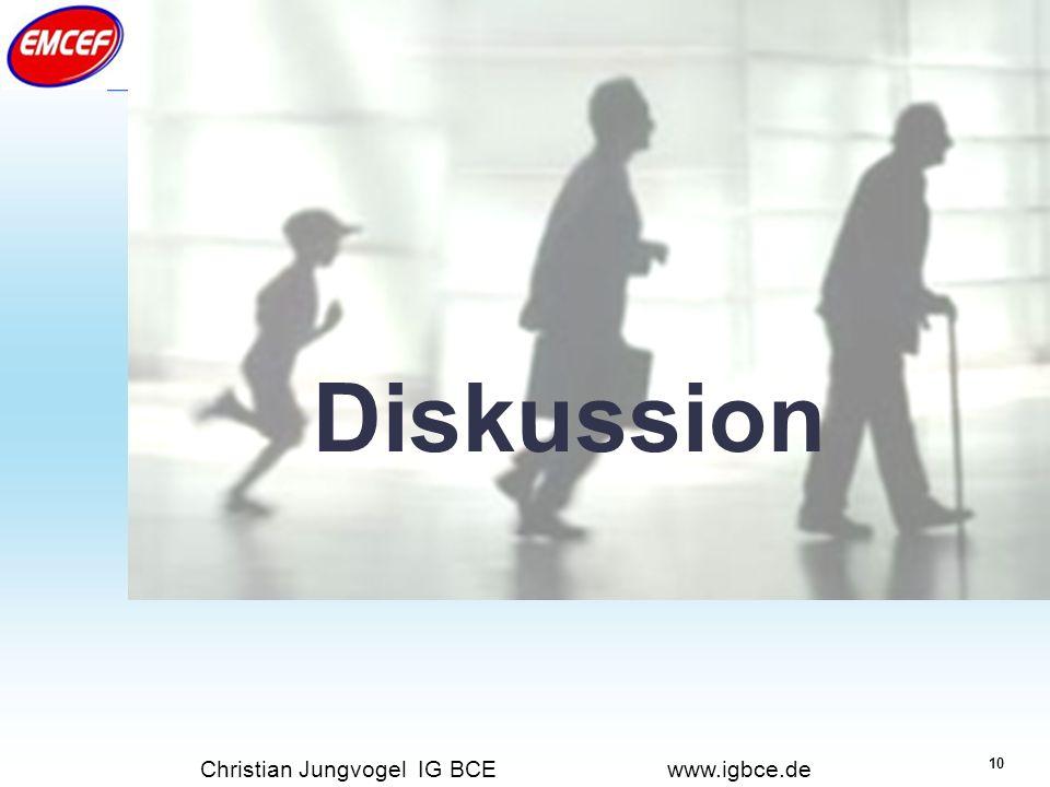 10 Industriegewerkschaft Bergbau-Chemie-Energie Christian Jungvogel IG BCE www.igbce.de Diskussion