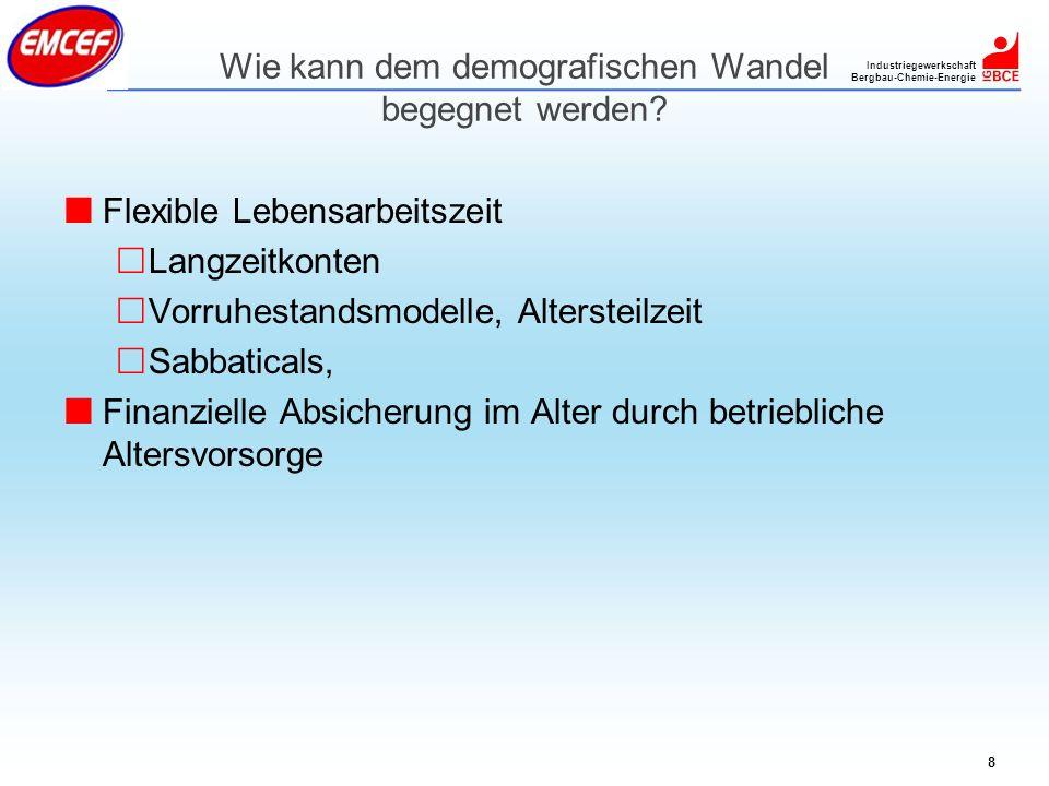 Industriegewerkschaft Bergbau-Chemie-Energie 8 Wie kann dem demografischen Wandel begegnet werden? Flexible Lebensarbeitszeit Langzeitkonten Vorruhest