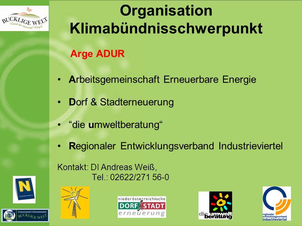 Organisation Klimabündnisschwerpunkt Arge ADUR Arbeitsgemeinschaft Erneuerbare Energie Dorf & Stadterneuerung die umweltberatung Regionaler Entwicklun