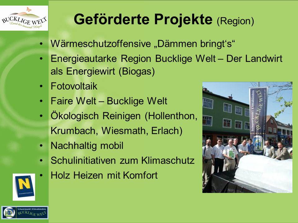 Geförderte Projekte (Region) Wärmeschutzoffensive Dämmen bringts Energieautarke Region Bucklige Welt – Der Landwirt als Energiewirt (Biogas) Fotovolta