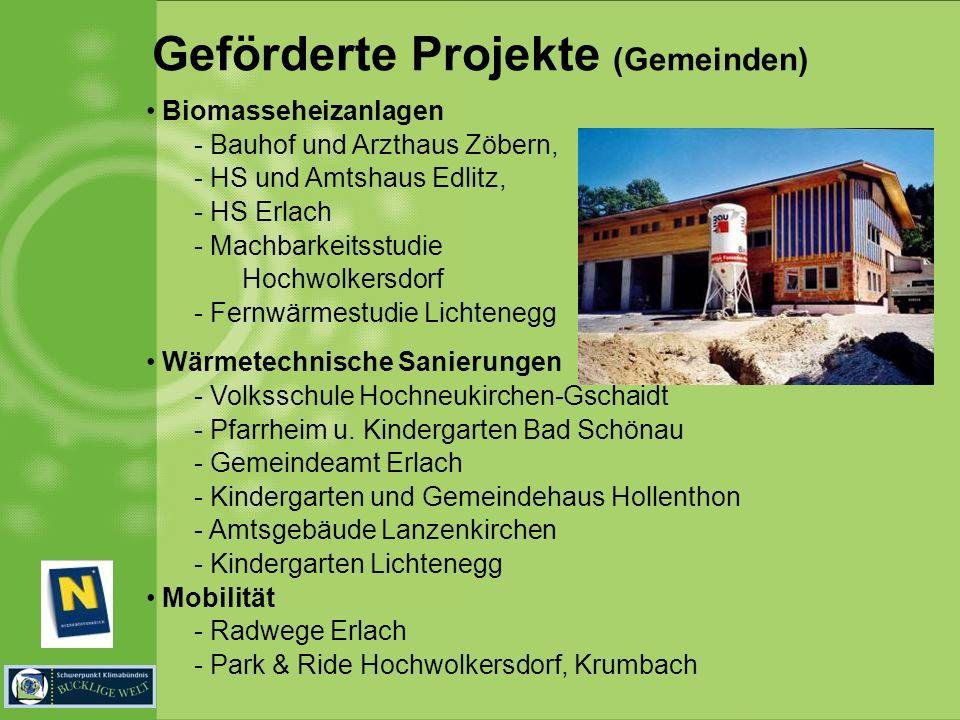 Geförderte Projekte (Gemeinden) Biomasseheizanlagen - Bauhof und Arzthaus Zöbern, - HS und Amtshaus Edlitz, - HS Erlach - Machbarkeitsstudie Hochwolkersdorf - Fernwärmestudie Lichtenegg Wärmetechnische Sanierungen - Volksschule Hochneukirchen-Gschaidt - Pfarrheim u.