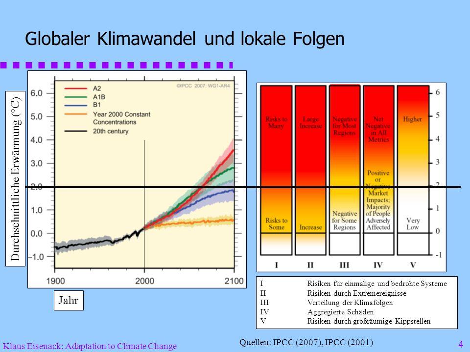 Klaus Eisenack: Adaptation to Climate Change 4 Globaler Klimawandel und lokale Folgen IRisiken für einmalige und bedrohte Systeme IIRisiken durch Extremereignisse IIIVerteilung der Klimafolgen IVAggregierte Schäden VRisiken durch großräumige Kippstellen Quellen: IPCC (2007), IPCC (2001) Jahr Durchschnittliche Erwärmung (°C)
