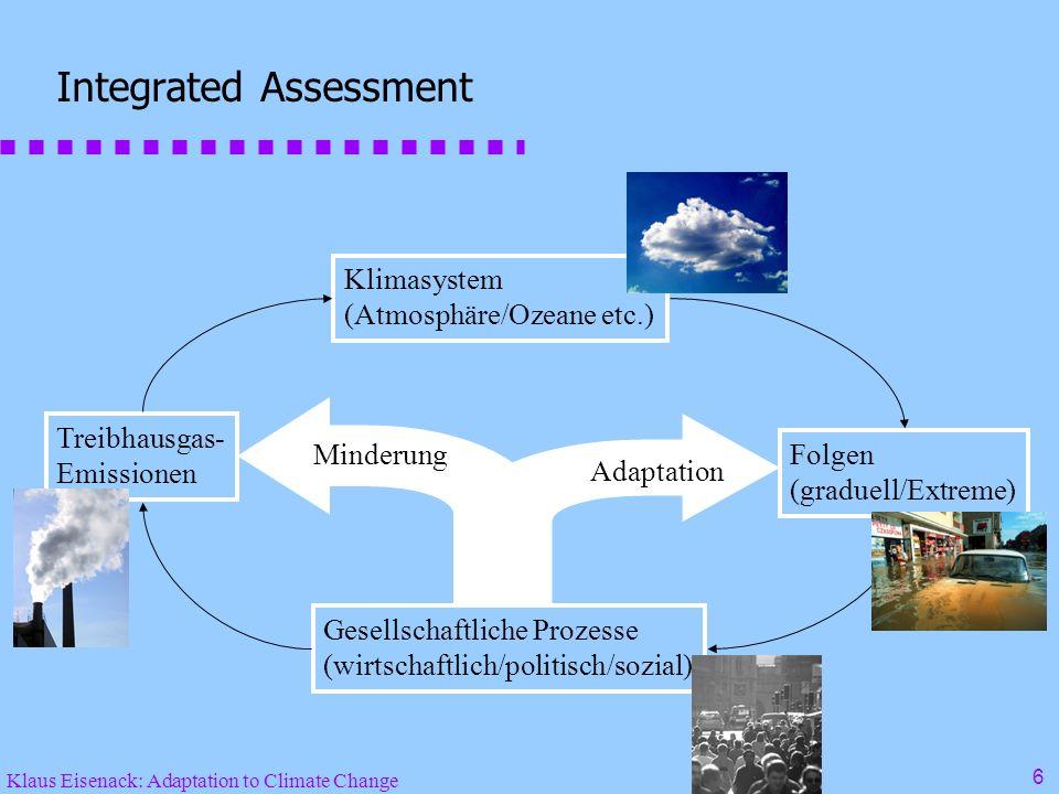 Klaus Eisenack: Adaptation to Climate Change 6 Integrated Assessment Gesellschaftliche Prozesse (wirtschaftlich/politisch/sozial) Klimasystem (Atmosphäre/Ozeane etc.) Folgen (graduell/Extreme) Treibhausgas- Emissionen Minderung Adaptation