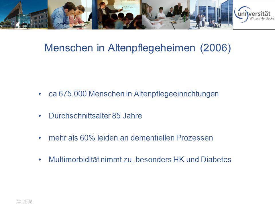 © 2006 Menschen in Altenpflegeheimen (2006) ca 675.000 Menschen in Altenpflegeeinrichtungen Durchschnittsalter 85 Jahre mehr als 60% leiden an dementi