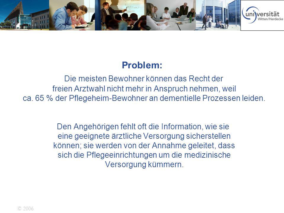 © 2006 Problem: Die meisten Bewohner können das Recht der freien Arztwahl nicht mehr in Anspruch nehmen, weil ca. 65 % der Pflegeheim-Bewohner an deme