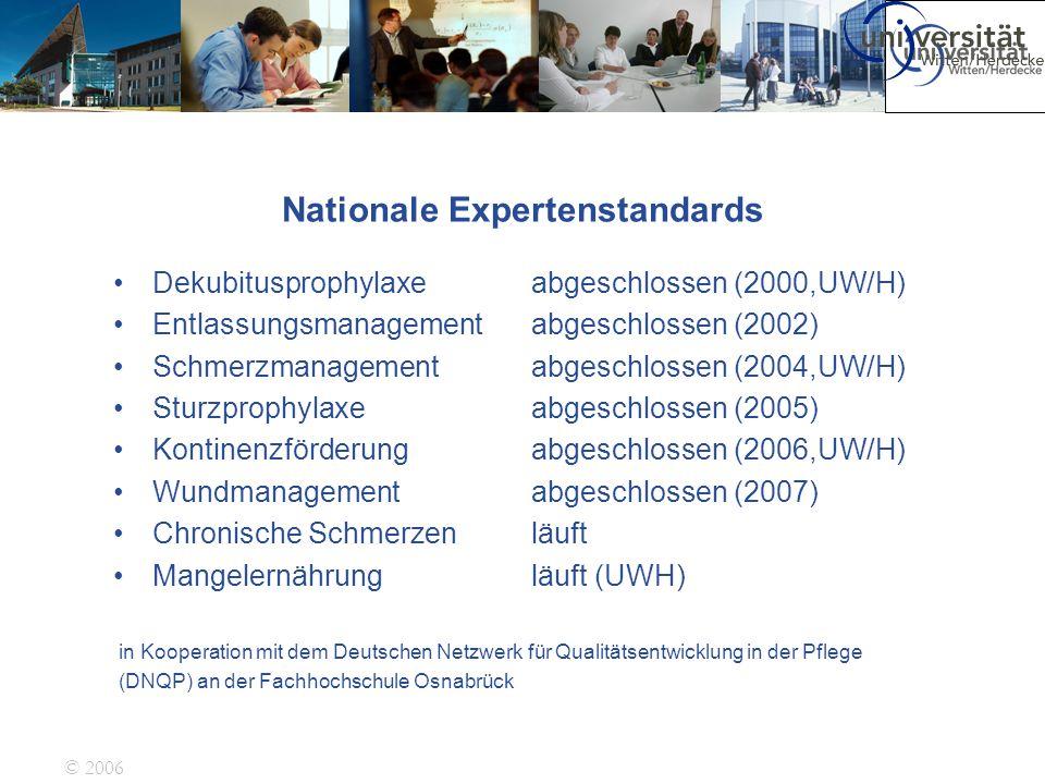 © 2006 Nationale Expertenstandards Dekubitusprophylaxe abgeschlossen (2000,UW/H) Entlassungsmanagementabgeschlossen (2002) Schmerzmanagement abgeschlo