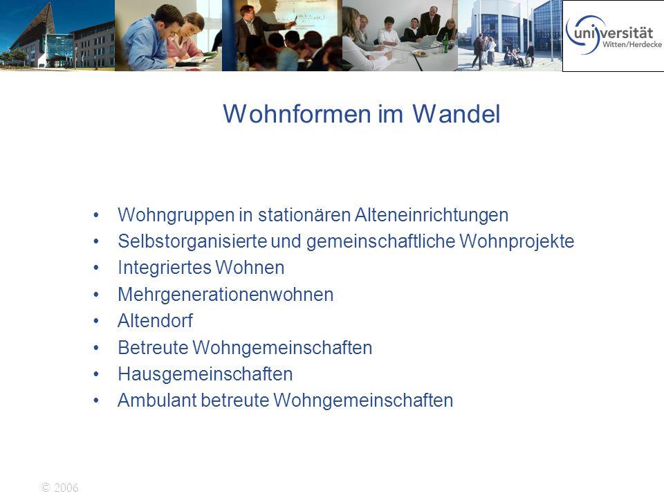 © 2006 Wohnformen im Wandel Wohngruppen in stationären Alteneinrichtungen Selbstorganisierte und gemeinschaftliche Wohnprojekte Integriertes Wohnen Me