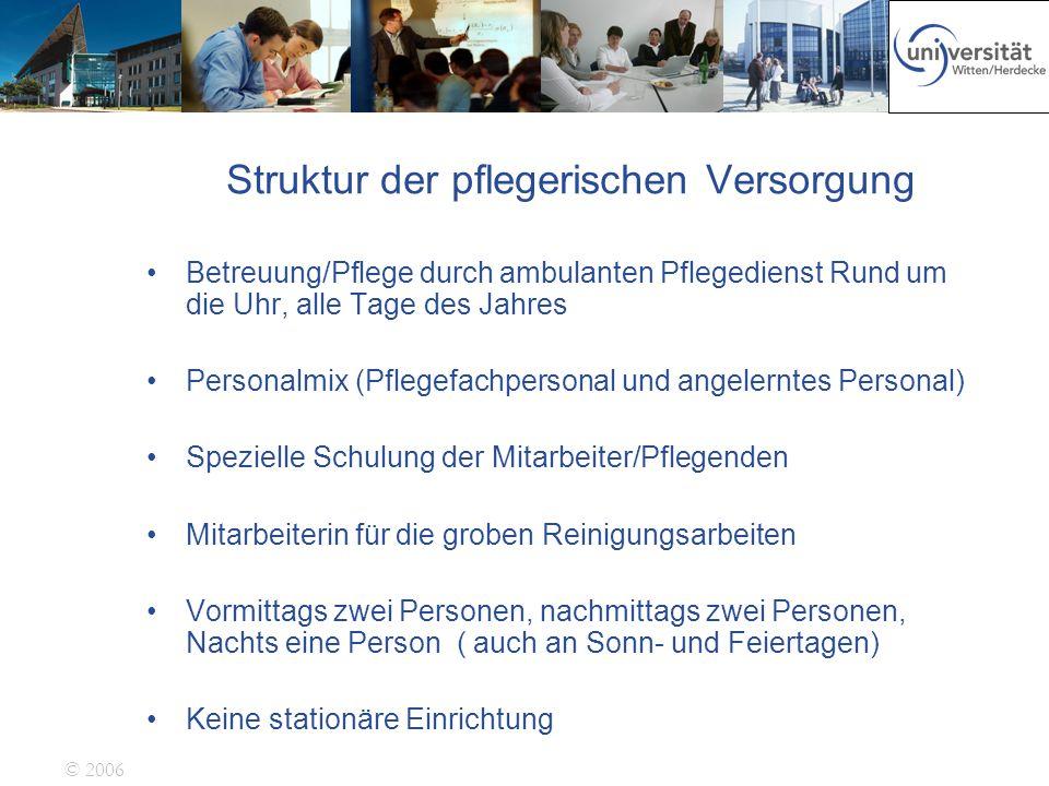 © 2006 Struktur der pflegerischen Versorgung Betreuung/Pflege durch ambulanten Pflegedienst Rund um die Uhr, alle Tage des Jahres Personalmix (Pflegef