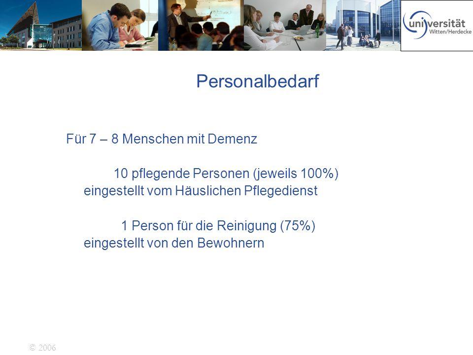 © 2006 Personalbedarf Für 7 – 8 Menschen mit Demenz 10 pflegende Personen (jeweils 100%) eingestellt vom Häuslichen Pflegedienst 1 Person für die Rein