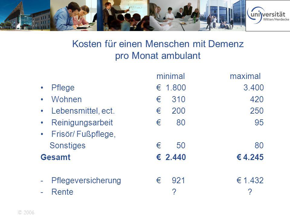 © 2006 Kosten für einen Menschen mit Demenz pro Monat ambulant minimal maximal Pflege 1.800 3.400 Wohnen 310 420 Lebensmittel, ect. 200 250 Reinigungs