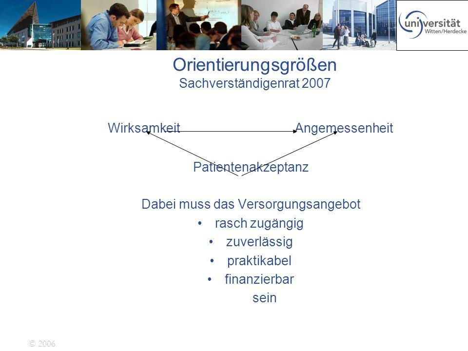 © 2006 Orientierungsgrößen Sachverständigenrat 2007 WirksamkeitAngemessenheit Patientenakzeptanz Dabei muss das Versorgungsangebot rasch zugängig zuve