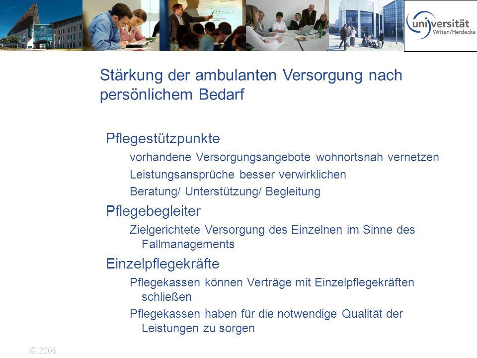 © 2006 Stärkung der ambulanten Versorgung nach persönlichem Bedarf Pflegestützpunkte vorhandene Versorgungsangebote wohnortsnah vernetzen Leistungsans