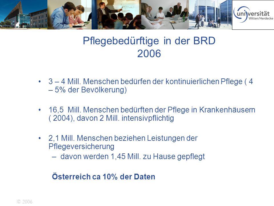 © 2006 Pflegebedürftige in der BRD 2006 3 – 4 Mill. Menschen bedürfen der kontinuierlichen Pflege ( 4 – 5% der Bevölkerung) 16,5 Mill. Menschen bedürf