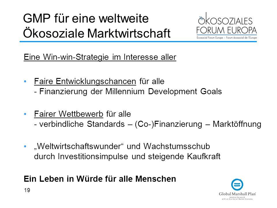 19 GMP für eine weltweite Ökosoziale Marktwirtschaft Eine Win-win-Strategie im Interesse aller Faire Entwicklungschancen für alle - Finanzierung der M