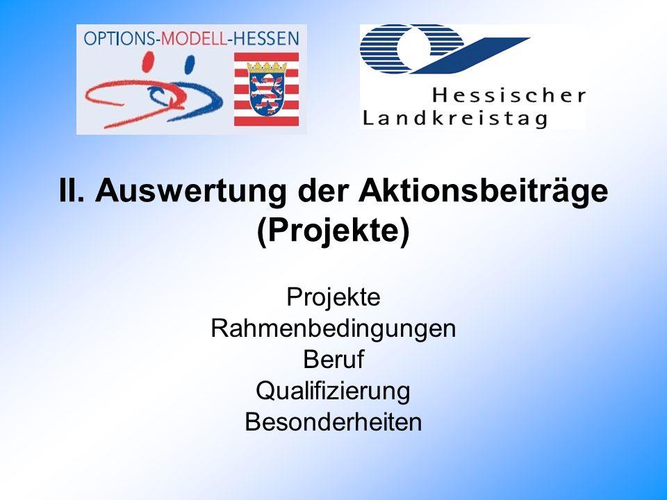 II. Auswertung der Aktionsbeiträge (Projekte) Projekte Rahmenbedingungen Beruf Qualifizierung Besonderheiten