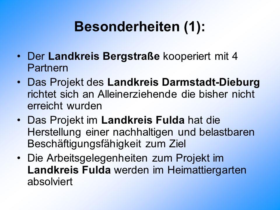Besonderheiten (1): Der Landkreis Bergstraße kooperiert mit 4 Partnern Das Projekt des Landkreis Darmstadt-Dieburg richtet sich an Alleinerziehende die bisher nicht erreicht wurden Das Projekt im Landkreis Fulda hat die Herstellung einer nachhaltigen und belastbaren Beschäftigungsfähigkeit zum Ziel Die Arbeitsgelegenheiten zum Projekt im Landkreis Fulda werden im Heimattiergarten absolviert
