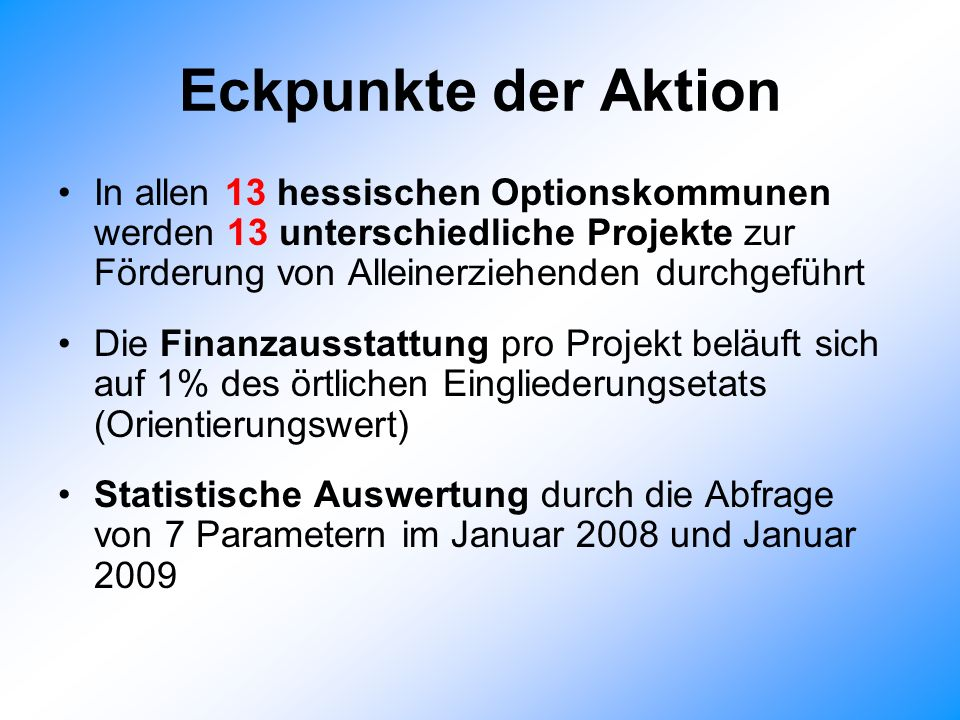 Eckpunkte der Aktion In allen 13 hessischen Optionskommunen werden 13 unterschiedliche Projekte zur Förderung von Alleinerziehenden durchgeführt Die Finanzausstattung pro Projekt beläuft sich auf 1% des örtlichen Eingliederungsetats (Orientierungswert) Statistische Auswertung durch die Abfrage von 7 Parametern im Januar 2008 und Januar 2009