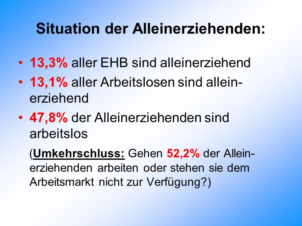 Situation der Alleinerziehenden: 13,3% aller EHB sind alleinerziehend 13,1% aller Arbeitslosen sind allein- erziehend 47,8% der Alleinerziehenden sind arbeitslos (Umkehrschluss: Gehen 52,2% der Allein- erziehenden arbeiten oder stehen sie dem Arbeitsmarkt nicht zur Verfügung?)