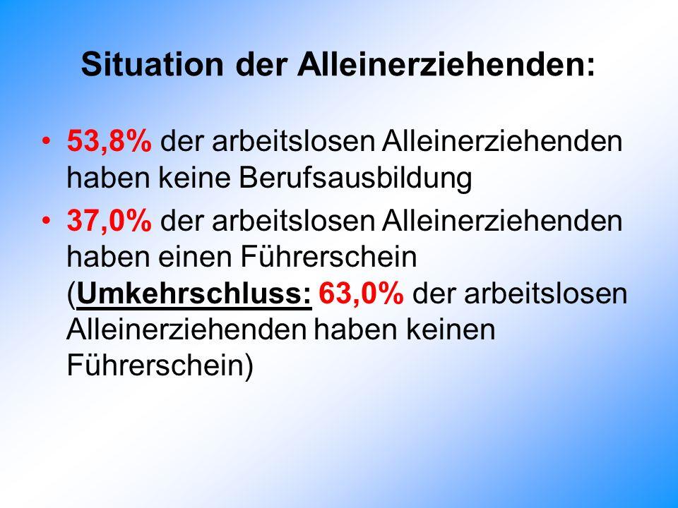 Situation der Alleinerziehenden: 53,8% der arbeitslosen Alleinerziehenden haben keine Berufsausbildung 37,0% der arbeitslosen Alleinerziehenden haben einen Führerschein (Umkehrschluss: 63,0% der arbeitslosen Alleinerziehenden haben keinen Führerschein)