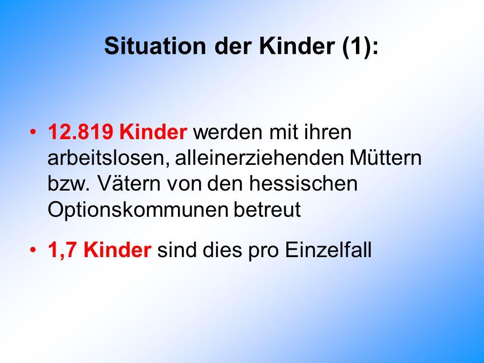 Situation der Kinder (1): 12.819 Kinder werden mit ihren arbeitslosen, alleinerziehenden Müttern bzw.