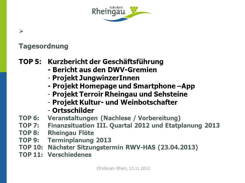 Tagesordnung TOP 5:Kurzbericht der Geschäftsführung - Bericht aus den DWV-Gremien - Projekt JungwinzerInnen - Projekt Homepage und Smartphone –App - P
