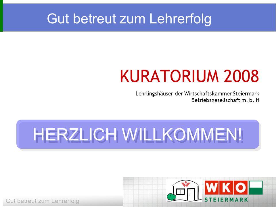 Gut betreut zum Lehrerfolg KURATORIUM 2008 Lehrlingshäuser der Wirtschaftskammer Steiermark Betriebsgesellschaft m.
