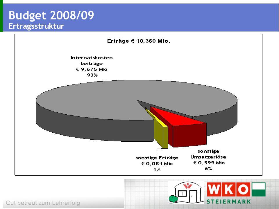 Gut betreut zum Lehrerfolg Budget 2008/09 Ertragsstruktur