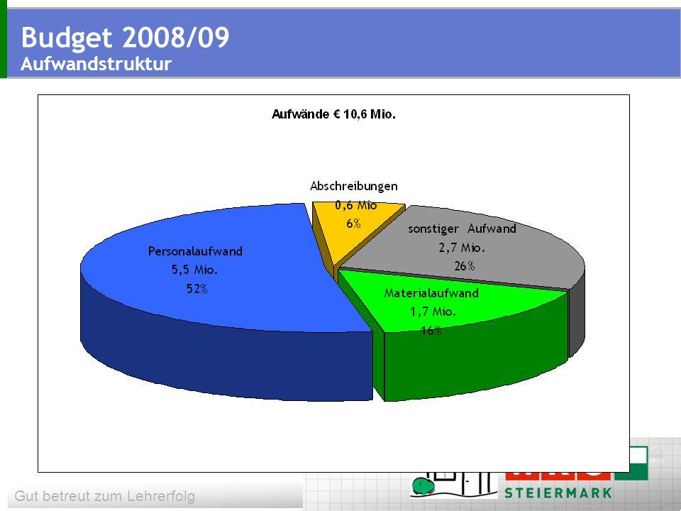 Gut betreut zum Lehrerfolg Budget 2008/09 Aufwandstruktur