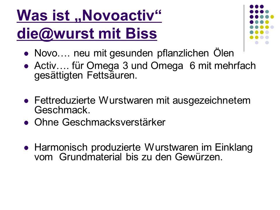 Was ist Novoactiv die@wurst mit Biss Novo…. neu mit gesunden pflanzlichen Ölen Activ…. für Omega 3 und Omega 6 mit mehrfach gesättigten Fettsäuren. Fe