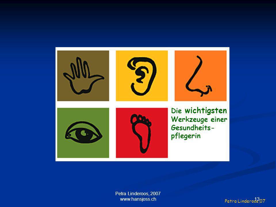 Die wichtigsten Werkzeuge einer Gesundheits- pflegerin Petra Linderoos,07 13 Petra Linderoos, 2007 www.hansjoss.ch