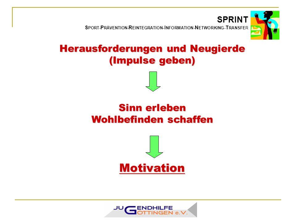 SPRINT S PORT- P RÄVENTION- R EINTEGRATION- I NFORMATION- N ETWORKING- T RANSFER Herausforderungen und Neugierde (Impulse geben) Sinn erleben Wohlbefinden schaffen Motivation