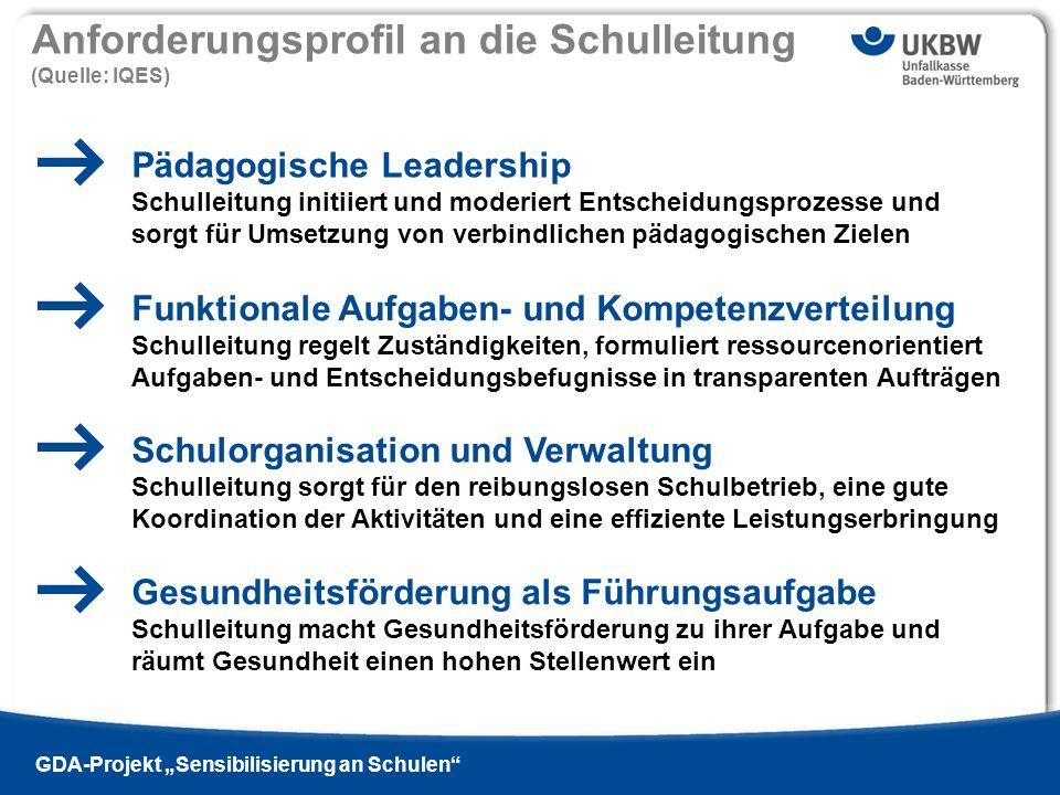 Titel der Präsentation Ausgabe 13 - 2009 si | GDA-Projekt Sensibilisierung an Schulen Pädagogische Leadership Schulleitung initiiert und moderiert Ent