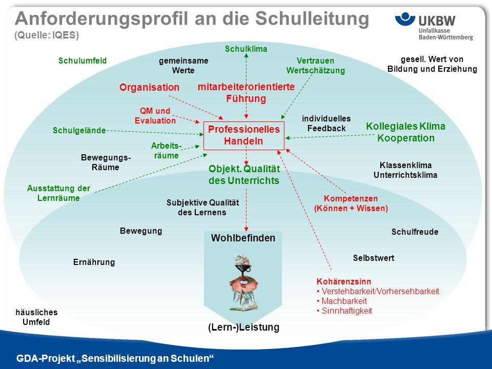 Titel der Präsentation Ausgabe 13 - 2009 si | GDA-Projekt Sensibilisierung an Schulen Anforderungsprofil an die Schulleitung (Quelle: IQES) (Lern-)Lei