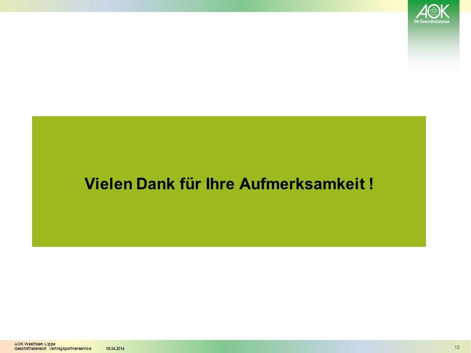 AOK Westfalen-Lippe Geschäftsbereich Vertragspartnerservice05.04.2014 10 Vielen Dank für Ihre Aufmerksamkeit !