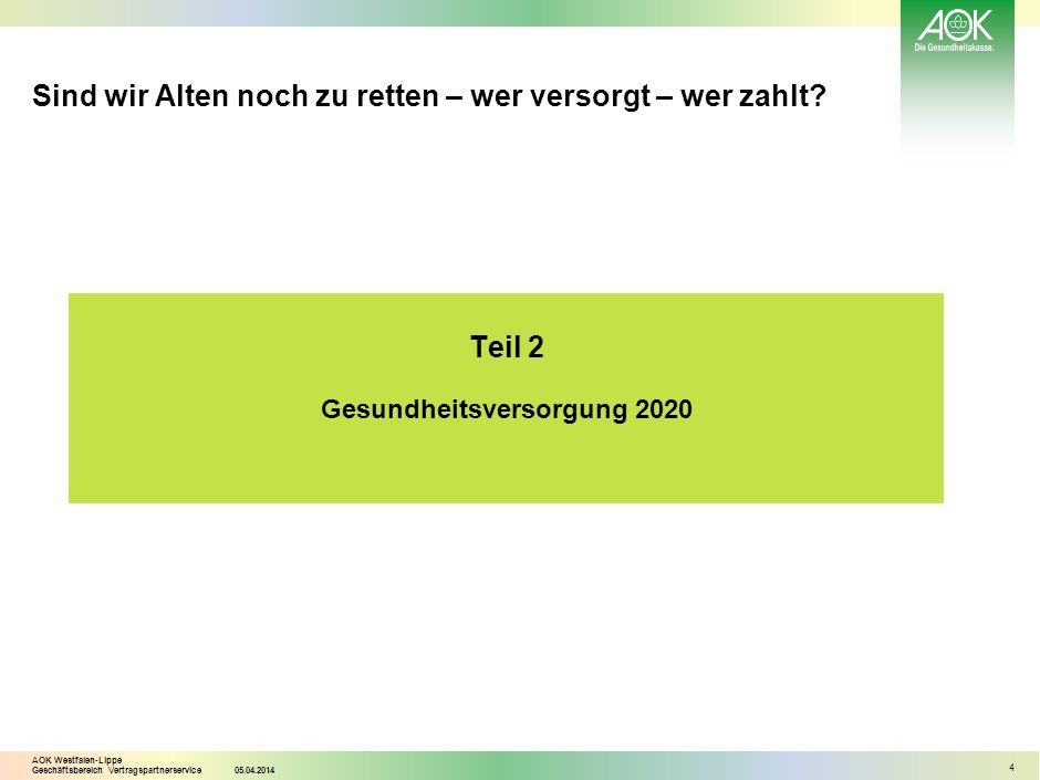 AOK Westfalen-Lippe Geschäftsbereich Vertragspartnerservice05.04.2014 4 Sind wir Alten noch zu retten – wer versorgt – wer zahlt? Teil 2 Gesundheitsve