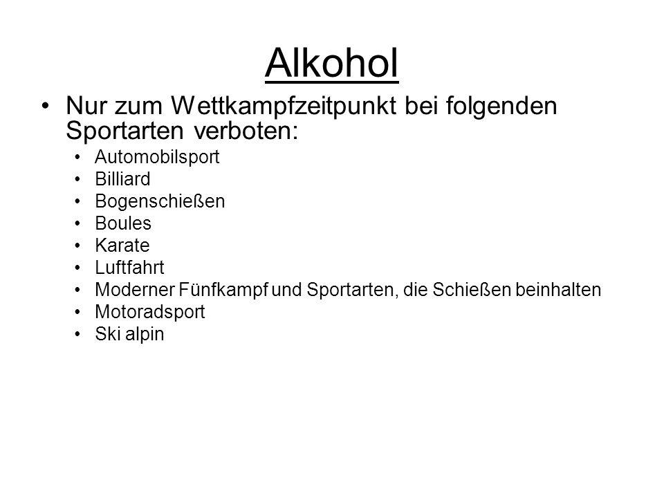 Alkohol Nur zum Wettkampfzeitpunkt bei folgenden Sportarten verboten: Automobilsport Billiard Bogenschießen Boules Karate Luftfahrt Moderner Fünfkampf