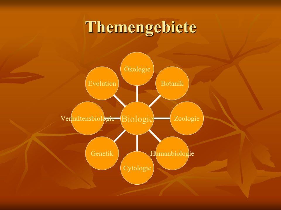 Themengebiete Biologie ÖkologieBotanikZoologieHumanbiologieCytologieGenetikVerhaltensbiologieEvolution