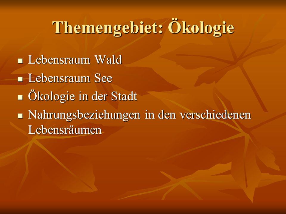 Themengebiet: Ökologie Lebensraum Wald Lebensraum Wald Lebensraum See Lebensraum See Ökologie in der Stadt Ökologie in der Stadt Nahrungsbeziehungen i