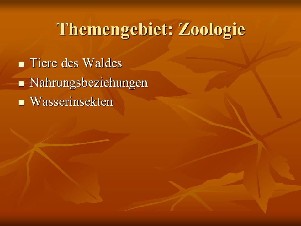 Themengebiet: Zoologie Tiere des Waldes Tiere des Waldes Nahrungsbeziehungen Nahrungsbeziehungen Wasserinsekten Wasserinsekten