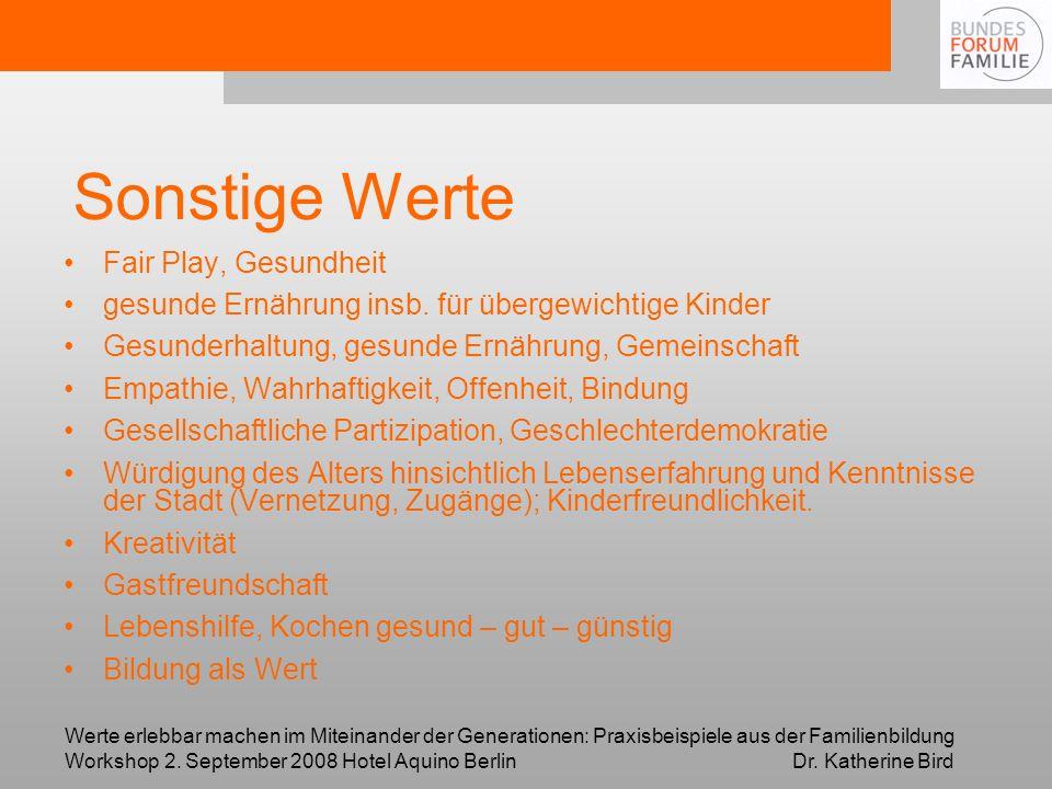 Werte erlebbar machen im Miteinander der Generationen: Praxisbeispiele aus der Familienbildung Workshop 2. September 2008 Hotel Aquino Berlin Dr. Kath