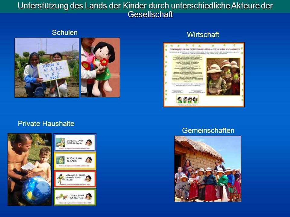 Unterstützung des Lands der Kinder durch unterschiedliche Akteure der Gesellschaft Private Haushalte Gemeinschaften Wirtschaft Schulen
