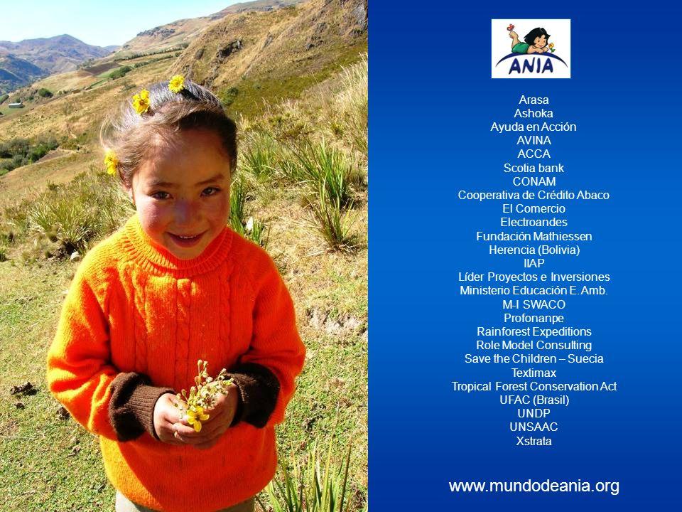 Arasa Ashoka Ayuda en Acción AVINA ACCA Scotia bank CONAM Cooperativa de Crédito Abaco El Comercio Electroandes Fundación Mathiessen Herencia (Bolivia) IIAP Líder Proyectos e Inversiones Ministerio Educación E.