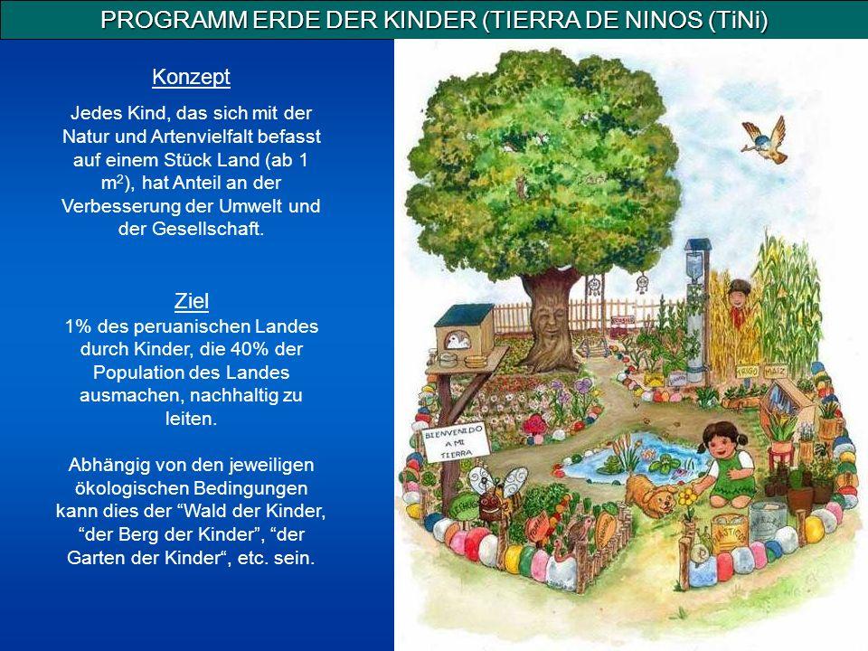 PROGRAMM ERDE DER KINDER (TIERRA DE NINOS (TiNi) Konzept Jedes Kind, das sich mit der Natur und Artenvielfalt befasst auf einem Stück Land (ab 1 m 2 ), hat Anteil an der Verbesserung der Umwelt und der Gesellschaft.