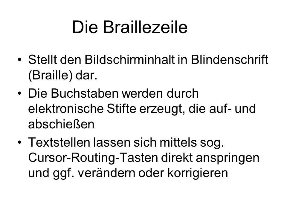 Die Braillezeile Stellt den Bildschirminhalt in Blindenschrift (Braille) dar.