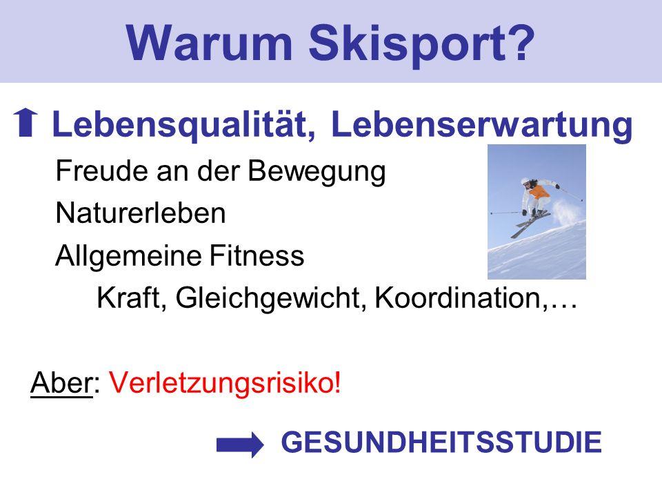 Warum Skisport? Lebensqualität, Lebenserwartung Freude an der Bewegung Naturerleben Allgemeine Fitness Kraft, Gleichgewicht, Koordination,… Aber: Verl