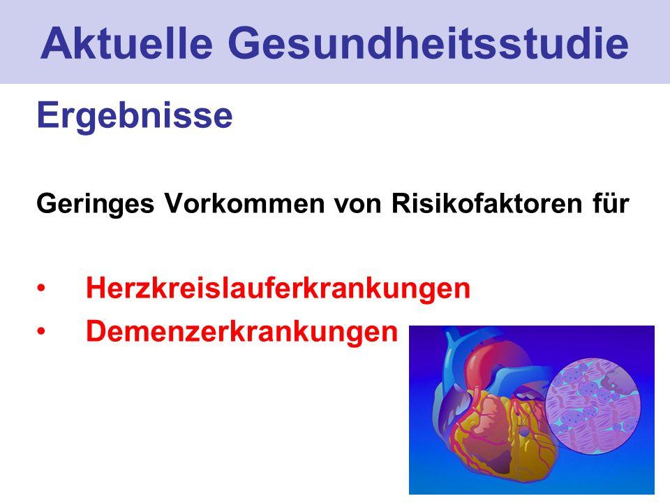 Aktuelle Gesundheitsstudie Ergebnisse Geringes Vorkommen von Risikofaktoren für Herzkreislauferkrankungen Demenzerkrankungen