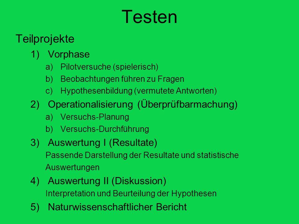 Testen Teilprojekte 1)Vorphase a)Pilotversuche (spielerisch) b)Beobachtungen führen zu Fragen c)Hypothesenbildung (vermutete Antworten) 2)Operationali
