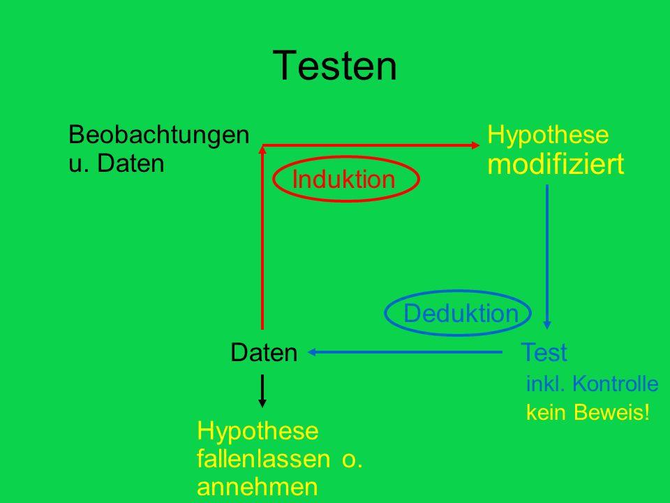 Testen Beobachtungen u. Daten Hypothese Induktion TestDaten Deduktion inkl. Kontrolle Hypothese fallenlassen o. annehmen Hypothese modifiziert kein Be