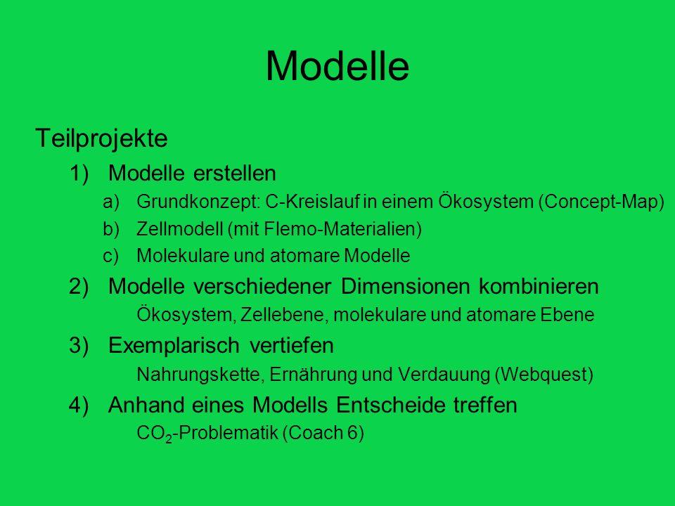 Modelle Teilprojekte 1)Modelle erstellen a)Grundkonzept: C-Kreislauf in einem Ökosystem (Concept-Map) b)Zellmodell (mit Flemo-Materialien) c)Molekular